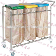 stainless steel three bags soiled trolley