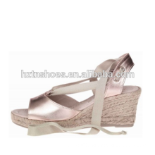 2016 summer wedge sandal lace up espadrille rubber sole jute shoes