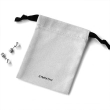 eco friendly reusable cotton jewelry package drawstring bag canvas printed logo white jewelry pouch