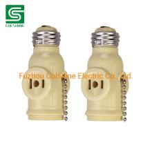 E26 Bulb Socket 2 Outlet Light Socket Adapter Pull Chain