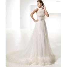 Vestido de noiva com alças em X com decote redondo Império A-line