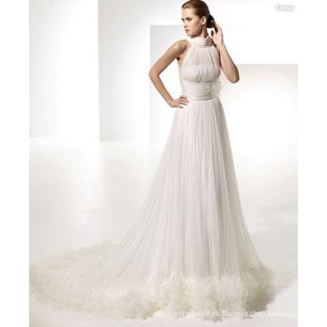 А-силуэт с круглым вырезом в стиле ампир с шлейфом из пряжи с драпировкой на бретелях, свадебное платье