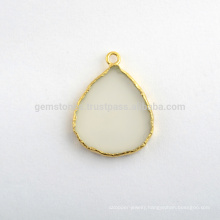 Natural White Chalcedony Slice Gemstone Bezel Charm, Handmade Micron Gold Plated Sterling Silver Bezel Connector and Charm