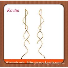 Mode bijoux bon marché en or minces boucles d'oreilles à longue chaîne