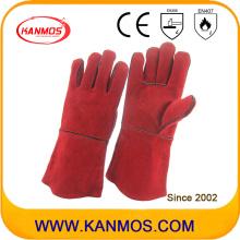 Cuero de vaca roja Split cuero industrial mano de soldadura guantes de trabajo (111032)