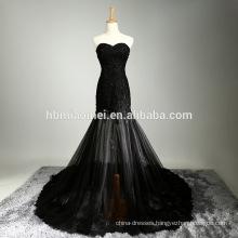 New design black color instock wedding dress long style beaded muslim bridal wedding dress
