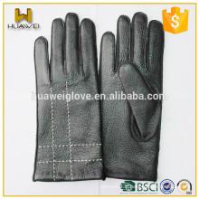 Neutral100% Real Deerskin Leather Black Women and Mens Gloves