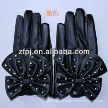 New Arrival Fashion black soft Leather Gloves for girl