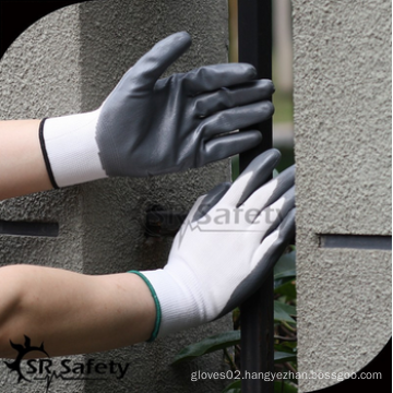 SRSAFETY cheap price/13g polyester shell grey nitrile coated/hand gloves