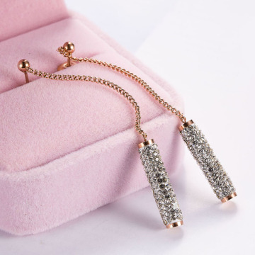Rose emas sederhana sparkly rhinestone drop anting-anting