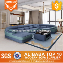 SUMENG round shape 7 seat blue fabric sofa sets