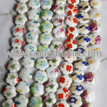 15MM Flower Shape Hand Painted Ceramic Chinoiserie Beads