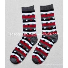 Strip with Heart Design Lady Fashion Socks