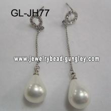 silver color women shell pearl earrings