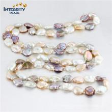 Ожерелье перлы Keshi 11-13mm Ожерелье перлы многоцветного способа длиннее