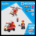Hot sale police/fire engineering block toy set with pdq vehicle toys