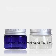 Frasco plástico do frasco claro azul do animal de estimação 30g com tampão de alumínio