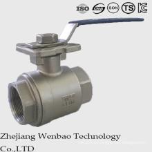 Válvula de bola de plataforma alta de acero inoxidable de fundición ISO 2PC