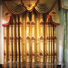 Tela de cortina de organza dupla camada com valance elegante