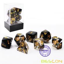 Bescon Crystal Black 7-pc Набор для игры в кости Poly Poly, Bescon Polyhedral RPG Набор для игры в кости Crystal Black
