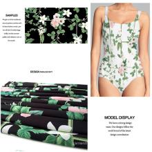 Tela de traje de baño de alta elasticidad con estampado de flores digitales
