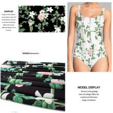 High-Stretch Swimwear Fabric with Digital Flower Print