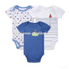 Atacado em torno do pescoço de malha desgaste do bebê barato 100% algodão roupas planície azul romper instock bebê romper