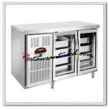 R255 2 Glass Doors Luxurious Fancooling Tray Undercounter Refrigerator