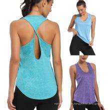 T-shirts d'entraînement à dos ouvert pour femme