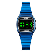 SKMEI led watch stainless steel case back and band women led lighting wrist watch