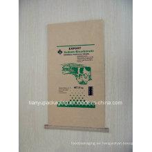 Bolsa de papel Kraft de la costura inferior para el fertilizante químico, cemento
