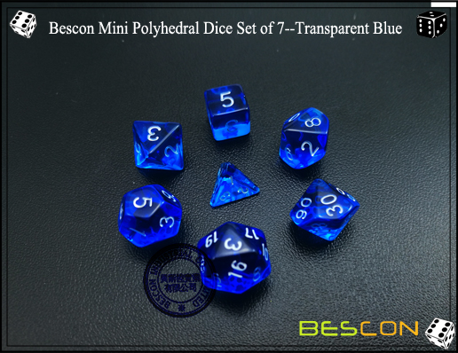 Bescon Mini Polyhedral Dice Set of 7--Transparent Blue-3
