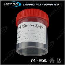 Recipiente de urina de 60 ml com tampa roscada e rotulado