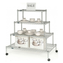 Metal Wire Display Rack, Display Stand Shelf with Wheels