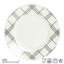 Porcelaine blanche de 10,5 pouces avec assiette à carreaux à carreaux