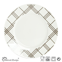 10.5 Inch White Porcelain with Decal Checked Dinner Plate