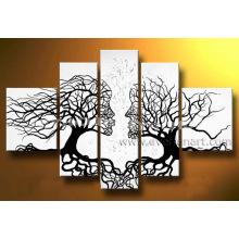 Abstratos, pessoas, rosto, árvore, óleo, quadro, (la5-051)
