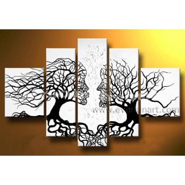 Abstraktes Leute-Gesichts-Baum-Ölgemälde (LA5-051)