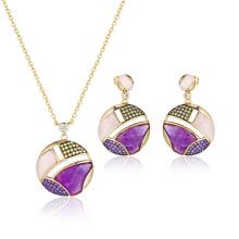 Conjunto de jóias de pedras semi-preciosas de ametista rosa