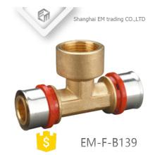 EM-F-B139 Brass screw Tee fitting Male Thread pex al pex hot water pipe
