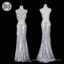 Vestido sexy de noche de sirena larga plateado de moda con perlas