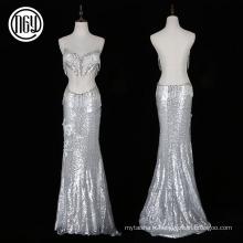 Nouvelle soirée à la mode argent longue sirène robe sexy avec des perles