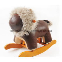 De madera de relleno Rocking Animal-Brown Leather Lion Rocker