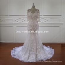 Nectarean laço meia manga vestido de noiva sereia