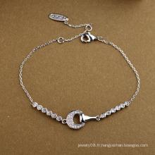 Article promotionnel bijoux promotionnels simple et agréable le bracelet en cristal demi-lune