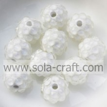 Newest Design Resin Rhinestone Beads 10*12MM Clear White With A 2mm Hole