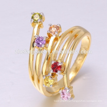 China fábrica de jóias por atacado direto anel CZ 18 K Ouro exportado para todo o mundo