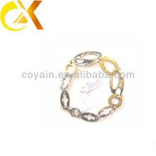 Aço inoxidável jóias ouro chapeamento link pulseira para menina