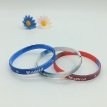 1/6 Inch Swirl Color Rubber Wrisbands with Printing