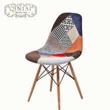 Silla de comedor franja moderna y colorida de tela de madera y silla de comedor
